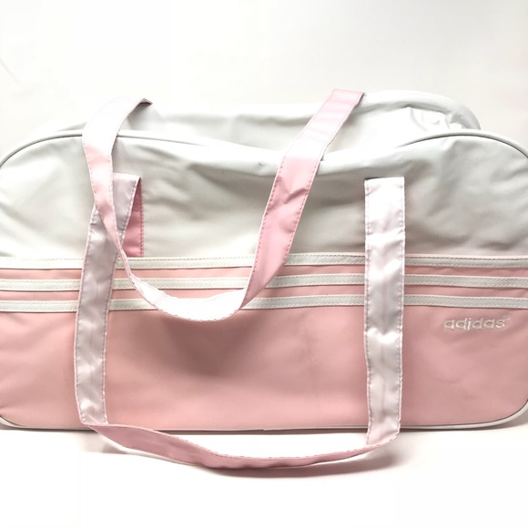 01f594b006b ... good out x fc75f 64465 EUC Adidas Light Pink White 3 Stripe Gym Bag ...